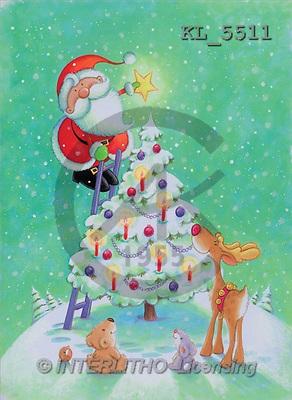Interlitho, Peter, CHRISTMAS SANTA, SNOWMAN, paintings, santa, tree, 4 animals(KL5511,#X#) Weihnachtsmänner, Schneemänner, Weihnachen, Papá Noel, muñecos de nieve, Navidad, illustrations, pinturas