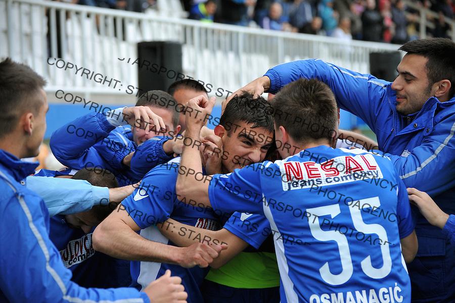 Fudbal Super liga season 2015-2016<br /> Novi Pazar v Radnik (Surdulica)<br /> Strelac Vojo Ubiparip (L) proslavlja pogodak sa Amer Osmanagic (D)<br /> Novi Pazar, 10. 4. 2016<br /> foto: Emir Sadovic/Starsportphoto &copy;