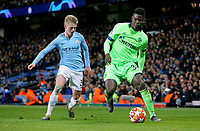 FC Schalke 04&rsquo;s Breel Embolo under pressure from   Manchester City's Oleksandr Zinchenko<br /> <br /> Photographer Rich Linley/CameraSport<br /> <br /> UEFA Champions League Round of 16 Second Leg - Manchester City v FC Schalke 04 - Tuesday 12th March 2019 - The Etihad - Manchester<br />  <br /> World Copyright &copy; 2018 CameraSport. All rights reserved. 43 Linden Ave. Countesthorpe. Leicester. England. LE8 5PG - Tel: +44 (0) 116 277 4147 - admin@camerasport.com - www.camerasport.com