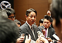 April 28, 2017, Tokyo, Japan - Japan's automobile maker Mazda president Masamichi Kogai is surrounded by reporters after he announced the company's financial result ended March 31 in Tokyo on Friday, April 28, 2017. Mazda posted its operating profit of 125.7 billion yen, 45 percent down from previous year.   (Photo by Yoshio Tsunoda/AFLO) LwX -ytd-