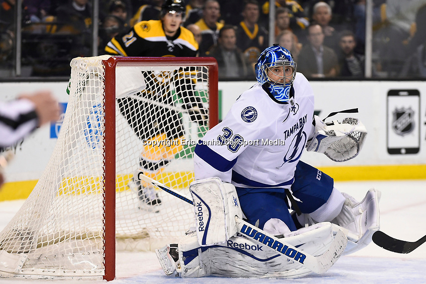 March 12, 2015 - Boston, Massachusetts, U.S. - Tampa Bay Lightning goalie Ben Bishop (30) in game action during the NHL match between the Tampa Bay Lightning and the Boston Bruins held at TD Garden in Boston Massachusetts. The Bruins defeated the Lightning 3-2 in overtime. Eric Canha/CSM