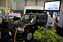 Opening day of the July 22-24 inaugural Plug-In 2008 Conference & Exposition: A Short Drive to Tomorrow in San Jose, CA. The event showcases the latest technological advances, market research and policy initiatives shaping the future of plug-in hybrid electric vehicles (PHEVs). Original photo is high-resolution (4368 x 2912 pixels).