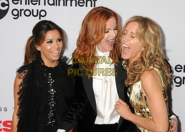 """Eva Longoria, Marcia Cross and Felicity Huffman.The """"Desperate Housewives"""" Final Season Kick-Off Party held at Wisteria Lane in Universal Studios in Universal City, California, USA..September 21st, 2010.half length dress green black orange animal leopard print black sleeveless lace clutch bag grey gray white blouse pussybow jacket mouth open smiling laughing .CAP/ADM/BP.©Byron Purvis/AdMedia/Capital Pictures."""