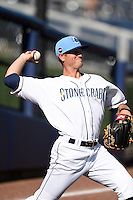 Charlotte Stone Crabs pitcher Buddy Borden (22) throws in the outfield before a game against the Daytona Tortugas on April 14, 2015 at Charlotte Sports Park in Port Charlotte, Florida.  Charlotte defeated Daytona 2-0.  (Mike Janes/Four Seam Images)