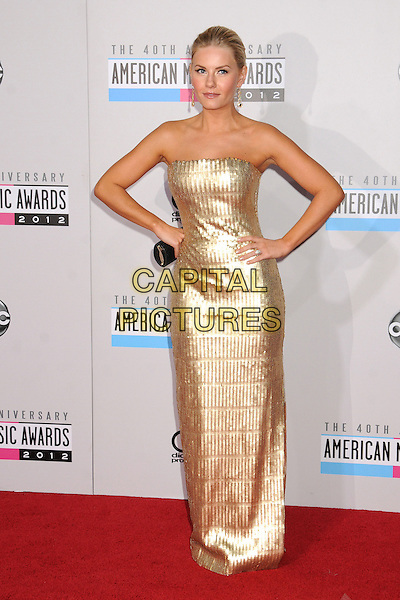 Elisha Cuthbert.40th Anniversary American Music Awards - Arrivals held at Nokia Theatre L.A. Live, Los Angeles, California, USA.  .November 18th, 2012.full length dress hands on hips gold strapless sequins sequined .CAP/ADM/BP.©Byron Purvis/AdMedia/Capital Pictures.