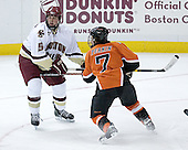 Tim Filangieri 5 of Boston College defends againts James Perkin 7 of Bowling Green. The Eagles of Boston College defeated the Falcons of Bowling Green State University 5-1 on Saturday, October 21, 2006, at Kelley Rink of Conte Forum in Chestnut Hill, Massachusetts.<br />