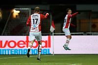 EMMEN - Voetbal, FC Emmen - Jong Ajax, Jens Vesting, Jupiler League, seizoen 2017-2018, 15-12-2017,  FC Emmen speler Michiel Hemmen viert de 2-1