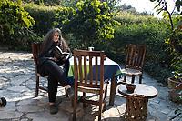 Octavias reading. Cuatepetitla house with Obie, San Jose de los Laureles, Morelos, Mexico