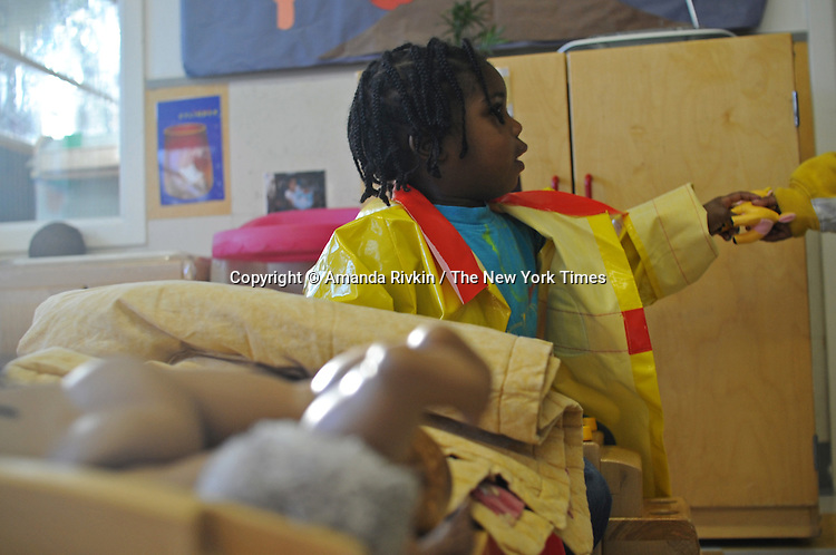 Damarion Jaelks, 2, plays in Room 129 at the Educare Early Childhood Center in Chicago on November 21, 2008.  The pre-K daycare center is a model for head start, funded privately by the Gates and other foundations, that cares for and educates infants, toddlers, and 3- and 4-year old pre-school children.