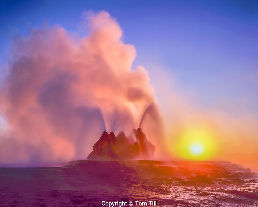 Fly Geyser at sunrise, Black Rock Desert, Nevada, Hot spring geyser on playa rim, colors from algae in hot spring water