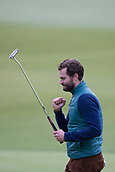 4th October 2017, The Old Course, St Andrews, Scotland; Alfred Dunhill Links Championship, practice round; Actor Jamie Dornan 'fistpumps after sinking a put on the 18th green on the Old Course, St Andrews during a practice round before the Alfred Dunhill Links Championship