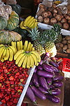 Fresh fruits and vegetables in produce stand. Puerto Rican.