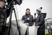 former CX champion Helen Wyman (GBR) comentating the race<br /> <br /> U23 Men's Race<br /> UCI cyclocross WorldCup - Koksijde (Belgium)<br /> <br /> ©kramon