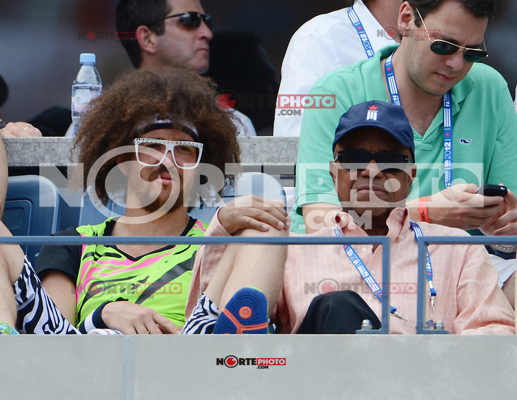 FLUSHING NY- SEPTEMBER 2: Redfoo and his father Barry Gody are sighted at Andy Roddick Vs Fabio Fognini on Arthur Ashe stadium at the USTA Billie Jean King National Tennis Center on September 2, 2012 in in Flushing Queens. Credit: mpi04/MediaPunch Inc. ***NO NY NEWSPAPERS*** /NortePhoto.com<br />