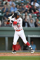 Second baseman Kervin Suarez (36) of the Greenville Drive bats in a game against the Rome Braves on Thursday, April 12, 2018, at Fluor Field at the West End in Greenville, South Carolina. Greenville won, 14-4. (Tom Priddy/Four Seam Images)