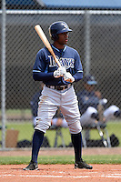 Tampa Bay Rays minor league outfielder Bralin Jackson (44) during an extended spring training game against the Boston Red Sox on April 16, 2014 at Charlotte Sports Park in Port Charlotte, Florida.  (Mike Janes/Four Seam Images)