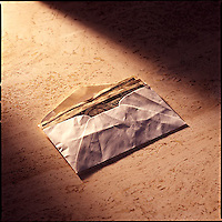 Envelope of money on marble background<br />