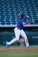 AZL Cubs 2 Abraham Rodriguez (12) at bat during an Arizona League game against the AZL Dbacks on June 25, 2019 at Sloan Park in Mesa, Arizona. AZL Cubs 2 defeated the AZL Dbacks 4-0. (Zachary Lucy/Four Seam Images)