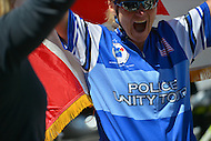 May 12, 2013  (Washington, DC)  A woman from Canada, who participated in the 2013 Police Unity Tour, is greeted as she arrives at the National Law Enforcement Memorial in D.C. 1800 riders from across the country raised more than $1.7 million.  (Photo by Don Baxter/Media Images International)