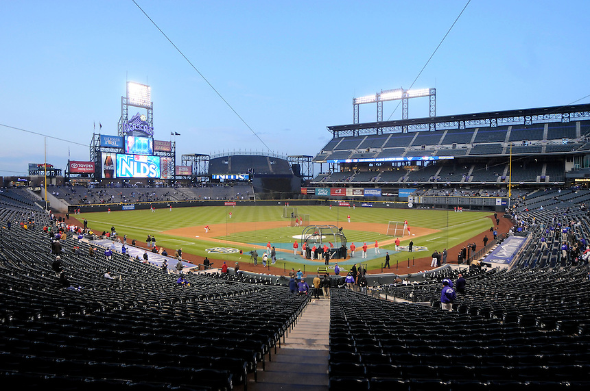 11 October 2009: A general view of Coors Field during Phillies batting practice before a National League Division Series game between the Philadelphia Phillies and the Colorado Rockies at Coors Field in Denver, Colorado. The Phillies beat the Rockies 6-5 as the temperature dipped into the 20's. *****For editorial use only*****