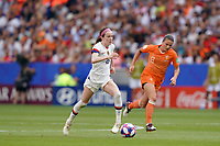 LYON, FRANCE - JULY 07: Rose Lavelle #16, Sherida Spitse #8 during the 2019 FIFA Women's World Cup France final match between the Netherlands and the United States at Stade de Lyon on July 07, 2019 in Lyon, France.