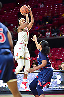 College Park, MD - NOV 21, 2017: Maryland Terrapins guard Ieshia Small (1) shoots a jump shot over a Bison defender  during match up between the Lady Bison and the Maryland Terrapins at the XFINITY Center in College Park, MD.  (Photo by Phil Peters/Media Images International)