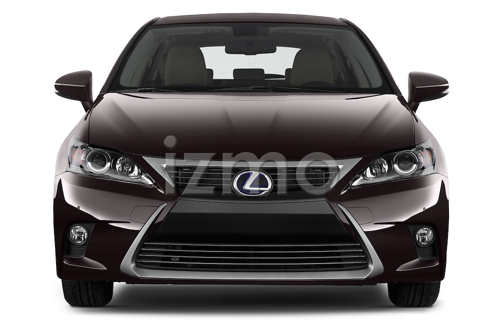 Car photography straight front view of  a 2015 Lexus CT Executive 5 Door Hatchback 2WD Front View