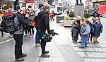"""The cast of TLC's """"7 Little Johnstons"""" filming promoting filming a visit to Times Square on January 4, 2019 in New York City."""