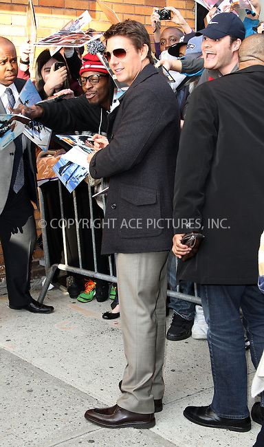 WWW.ACEPIXS.COM....April 16 2013, New York City....Actor Tom Cruise made an appearance at the Jon Stewart Show on April 16 2013 in New York City......By Line: Zelig Shaul/ACE Pictures....ACE Pictures, Inc...tel: 646 769 0430..Email: info@acepixs.com..www.acepixs.com
