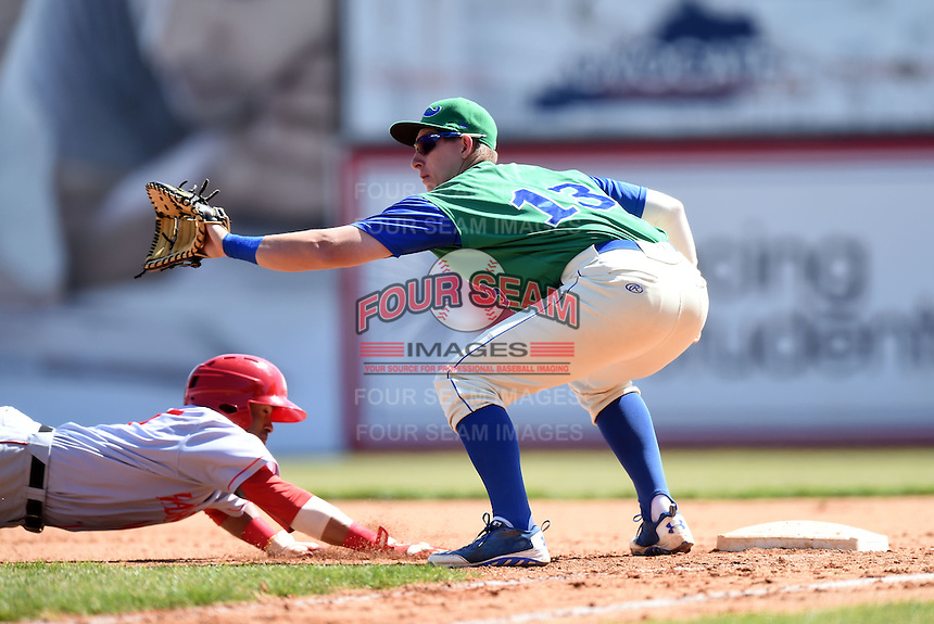 Lexington Legends first baseman Frank Schwindel (13) during a game against the Hagerstown Suns on May 19, 2014 at Whitaker Bank Ballpark in Lexington, Kentucky.  Lexington defeated Hagerstown 10-8.  (Mike Janes/Four Seam Images)
