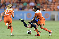 Houston, TX - Sunday August 13, 2017:  Sydney Leroux and Bruna Benites during a regular season National Women's Soccer League (NWSL) match between the Houston Dash and FC Kansas City at BBVA Compass Stadium.