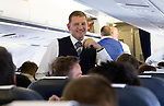 FK Trakai v St Johnstone…05.07.17… Europa League 1st Qualifying Round 2nd Leg<br />Chairman Steve Brown talks with the players on the flight over to Vilnius in Lithuania<br />Picture by Graeme Hart.<br />Copyright Perthshire Picture Agency<br />Tel: 01738 623350  Mobile: 07990 594431