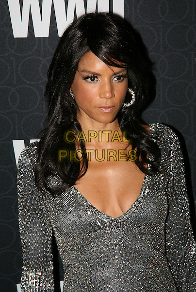 VERONICA WEBB.The Women's Wear Daily 100 Anniversary Gala at Cipriani 42nd Street, New York City, New York, NY, USA..November 2nd, 2010.half length silver grey gray dress sparkly cleavage hoop earrings .CAP/ADM/PZ.©Paul Zimmerman/AdMedia/Capital Pictures.