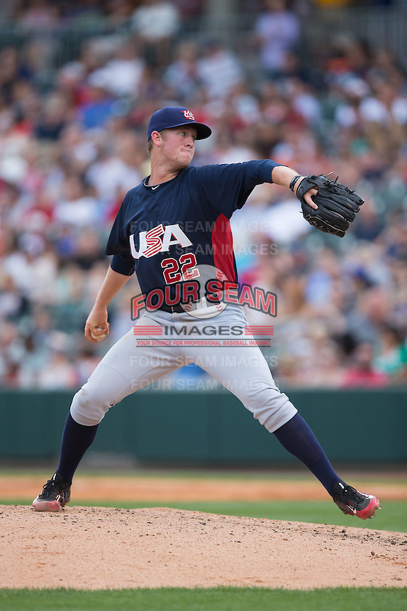 US Collegiate National Team starting pitcher Robert Tyler (22) in action against the Cuban National Team at BB&T BallPark on July 4, 2015 in Charlotte, North Carolina.  The United State Collegiate National Team defeated the Cuban National Team 11-1.  (Brian Westerholt/Four Seam Images)