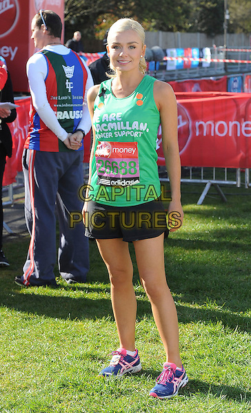 Katherine Jenkins.London Marathon 2013 - Picture coverage at the start and finish plus presentations, London, England..April 21st 2013.full length exercise black vest tank top short green.CAP/ROS.©Steve Ross/Capital Pictures