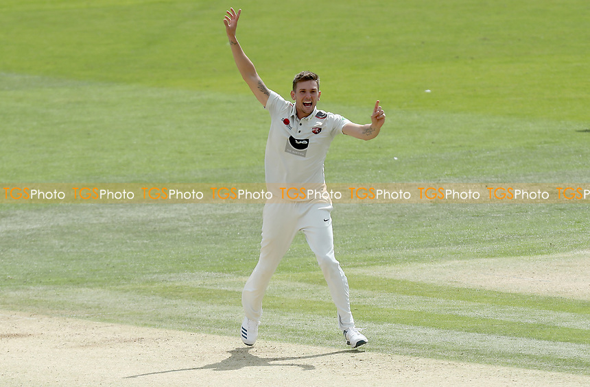 Harry Podmore of Kent appeals for the wicket of Adam Wheater during Kent CCC vs Essex CCC, Specsavers County Championship Division 1 Cricket at the St Lawrence Ground on 20th August 2019