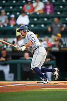 Lakeland Flying Tigers center fielder Ross Kivett (7) at bat during a game against the Bradenton Marauders on April 16, 2016 at McKechnie Field in Bradenton, Florida.  Lakeland defeated Bradenton 7-4.  (Mike Janes/Four Seam Images)