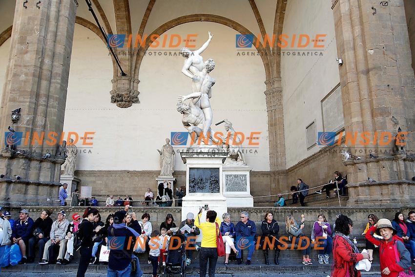 Statua Ratto delle Sabine del Giambologna<br /> Firenze 07-10-2016. Luoghi e Monumenti della citta'. <br /> Florence 7th October 2016. Places and monuments of the city.<br /> Foto Samantha Zucchi Insidefoto
