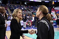 GREENSBORO, NC - MARCH 07: Head coach Joanna Bernabei-McNamee of Boston College and official Dee Kantner shake hands during a game between Boston College and NC State at Greensboro Coliseum on March 07, 2020 in Greensboro, North Carolina.
