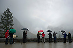Photographers during a storm in Yosemite Valley from Tunnel View lookout.