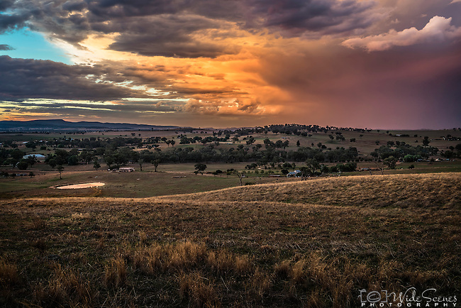 Stormy skies after sunset heading toward the rural town of Canowindra in NSW, Australia.