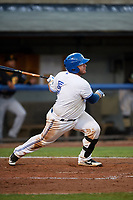 Bluefield Blue Jays designated hitter Alejandro Kirk (5) follows through on a swing during the second game of a doubleheader against the Bristol Pirates on July 25, 2018 at Bowen Field in Bluefield, Virginia.  Bristol defeated Bluefield 5-2.  (Mike Janes/Four Seam Images)