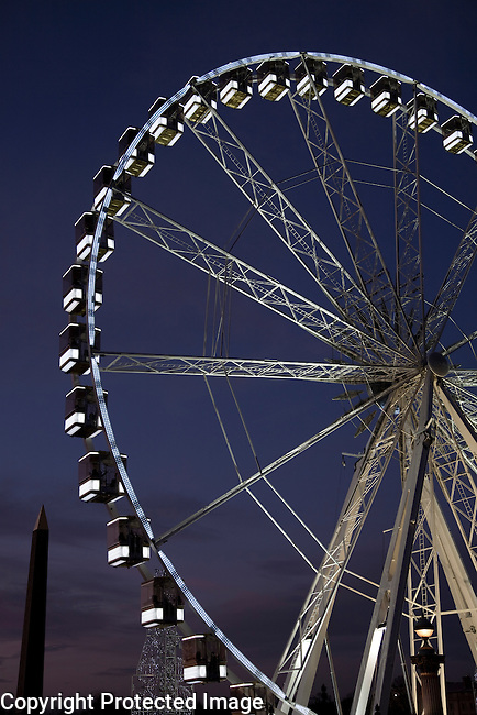 Ferris Wheel Illuminate at Night in Paris, France