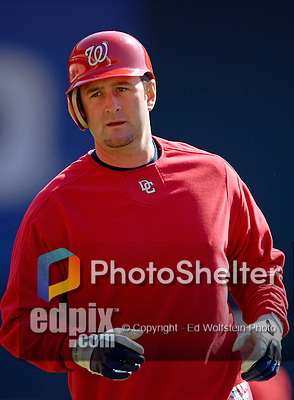 11 April 2006: Brian Schneider, catcher for the Washington Nationals, awaits his turn during batting practice prior to the Nationals' Home Opener against the New York Mets in Washington, DC. The Mets defeated the Nationals 7-1 to start the 2006 season at RFK Stadium...Mandatory Photo Credit: Ed Wolfstein Photo..