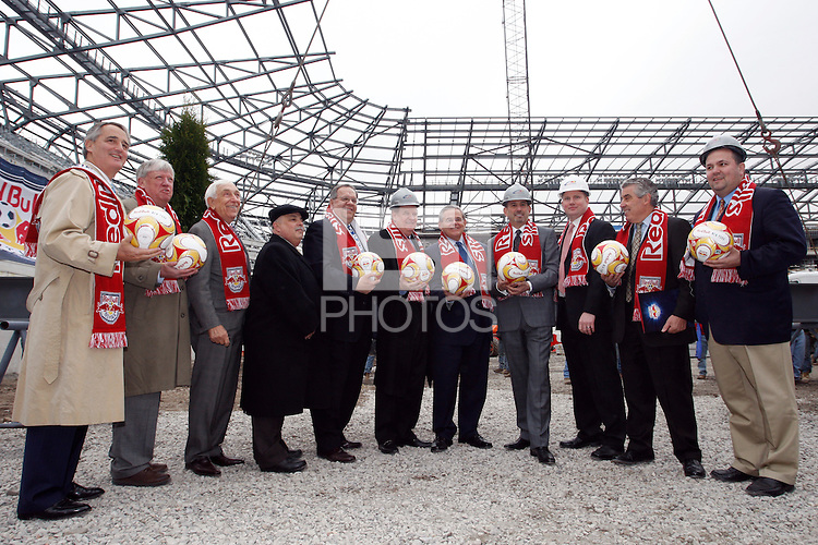 Dignitaries pose for a photo during the topping off ceremony at Red Bull Arena in Harrison, NJ, on April 14, 2009.