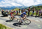 David Gaudu (FRA) Groupama-FDJ) and Daniel Navarro (ESP) Cofidis climb Col de Madeleine during Stage 12 of the 2018 Tour de France running 175.5km from Bourg-Saint-Maurice les Arcs to Alpe D'Huez, France. 19th July 2018. <br /> Picture: ASO/Alex Broadway | Cyclefile<br /> All photos usage must carry mandatory copyright credit (&copy; Cyclefile | ASO/Alex Broadway)