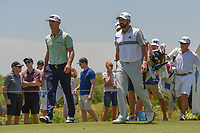Billy Horschel (USA) and Sergio Garcia (ESP) make their way down 3 during round 2 of the AT&amp;T Byron Nelson, Trinity Forest Golf Club, at Dallas, Texas, USA. 5/18/2018.<br /> Picture: Golffile | Ken Murray<br /> <br /> <br /> All photo usage must carry mandatory copyright credit (&copy; Golffile | Ken Murray)