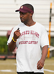 WATERBURY, CT-15 AUGUST 2012--081512JS04- Sacred Heart new Head Coach Cortez Johnson at practice Wednesday at Municipal Stadium in Waterbury. .Jim Shannon Republican-American