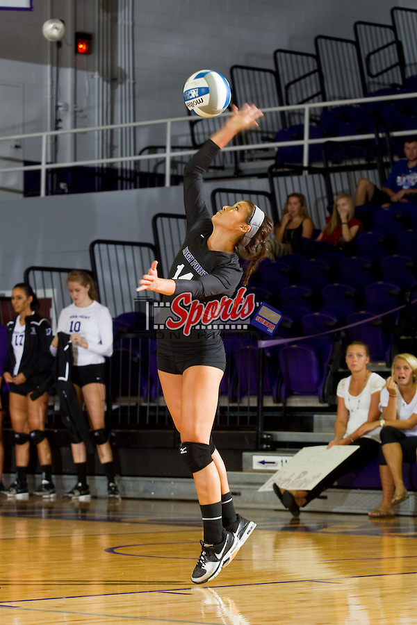 Annemarie Chin (14) of the High Point Panthers serves against the VCU Rams at Millis Athletic Center on September 17, 2013 in High Point, North Carolina.  The Rams defeated the Panthers 3-0.   (Brian Westerholt/Sports On Film)