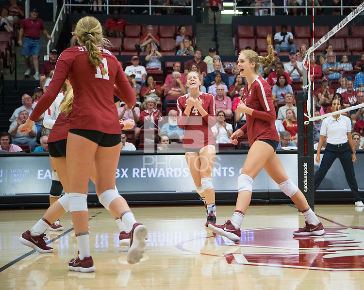 STANFORD, CA - September 9, 2018: Holly Campbell, Kate Formico, Meghan McClure, Morgan Hentz, Jenna Gray at Maples Pavilion. The Stanford Cardinal defeated #1 ranked Minnesota 3-1 in the Big Ten / PAC-12 Challenge.